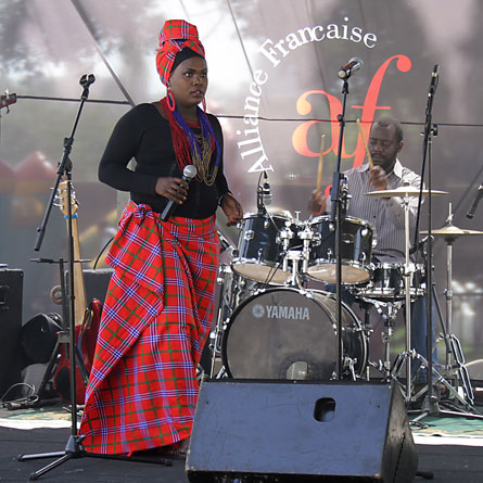 Chepchumba on stage, singing the song 'kipla'
