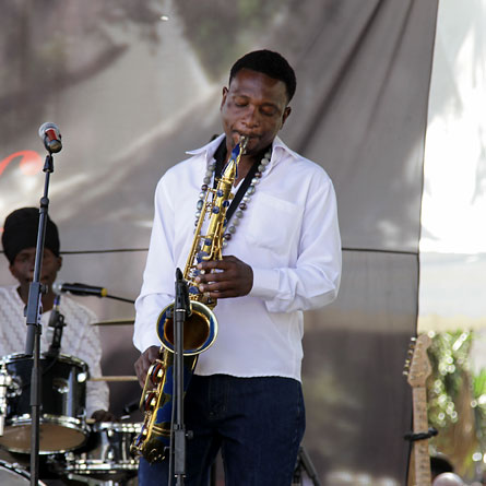 Juma Tutu on his saxophone