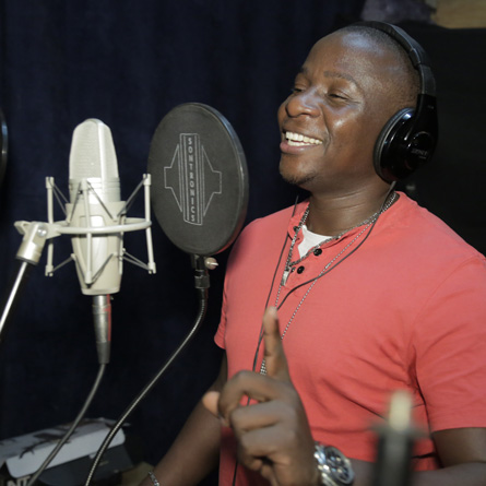 Bado during a studio session at Ketebul Music