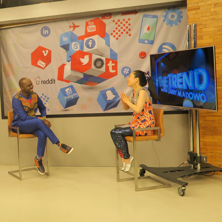 Anyango during an interview at The Trend Live with Larry Madowo