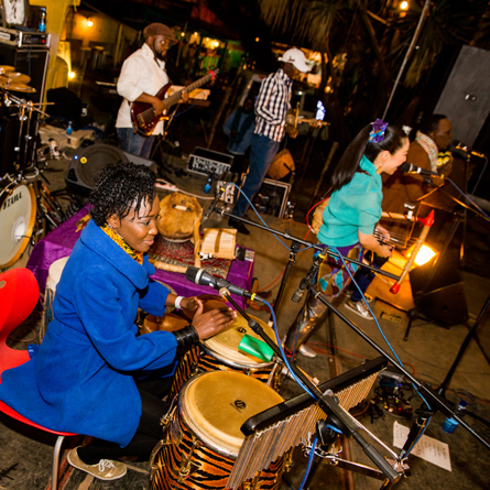 Female percussionist Kasiva Mutua doing what she knows best